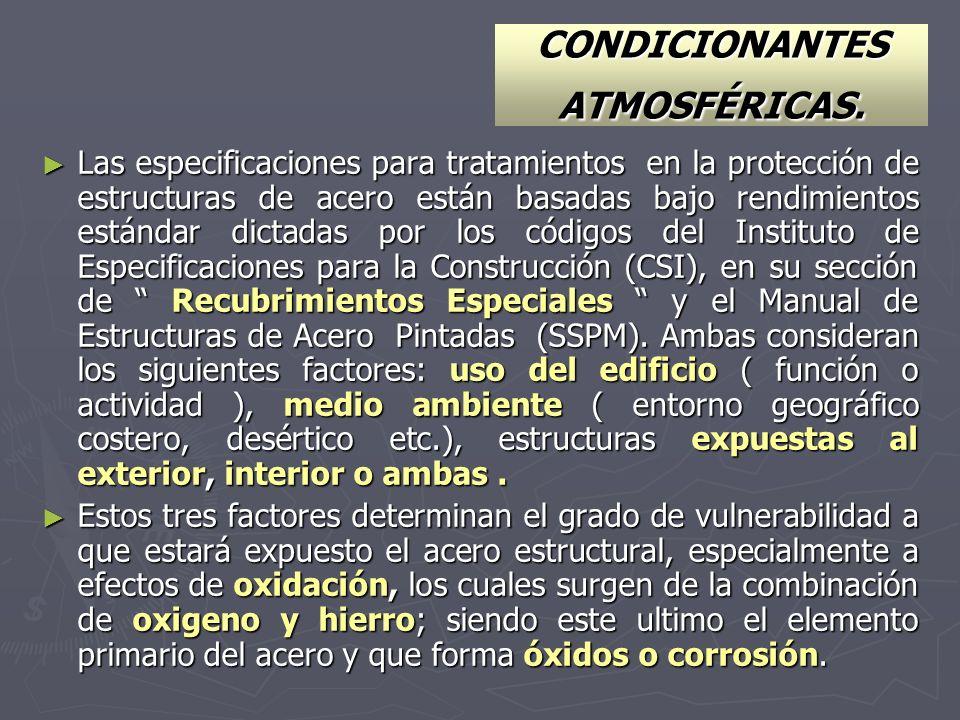CONDICIONANTES ATMOSFÉRICAS. Las especificaciones para tratamientos en la protección de estructuras de acero están basadas bajo rendimientos estándar