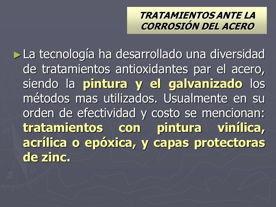 TRATAMIENTOS ANTE LA CORROSIÓN DEL ACERO La tecnología ha desarrollado una diversidad de tratamientos antioxidantes par el acero, siendo la pintura y