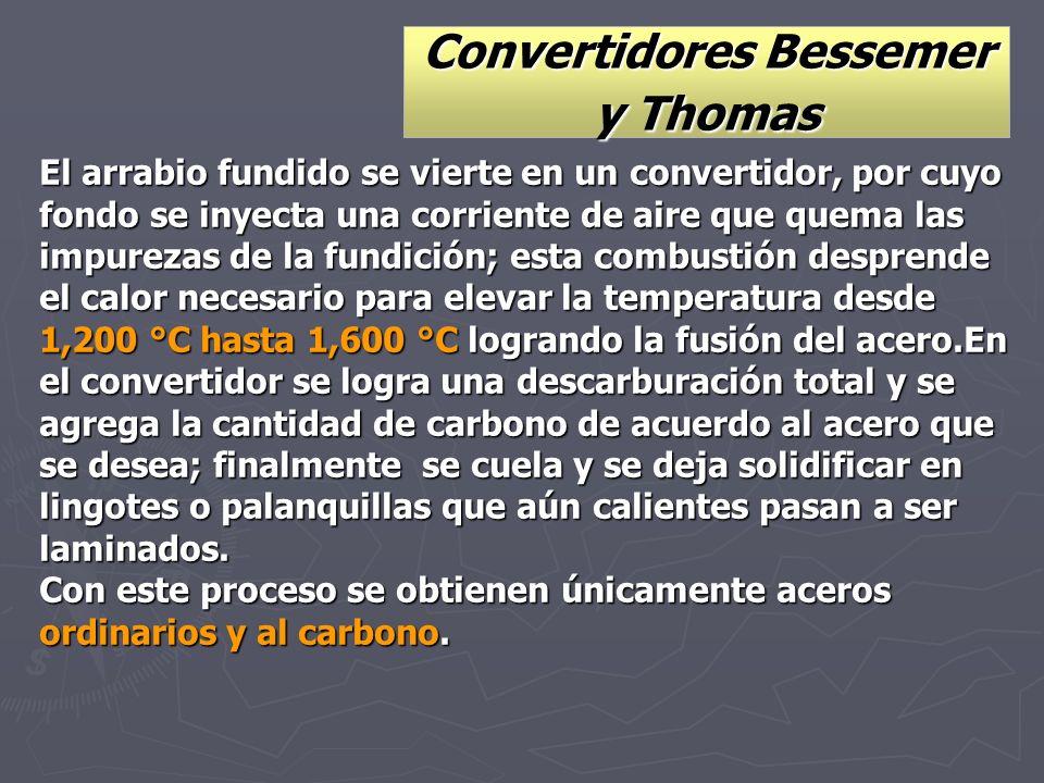 Convertidores Bessemer y Thomas El arrabio fundido se vierte en un convertidor, por cuyo fondo se inyecta una corriente de aire que quema las impureza