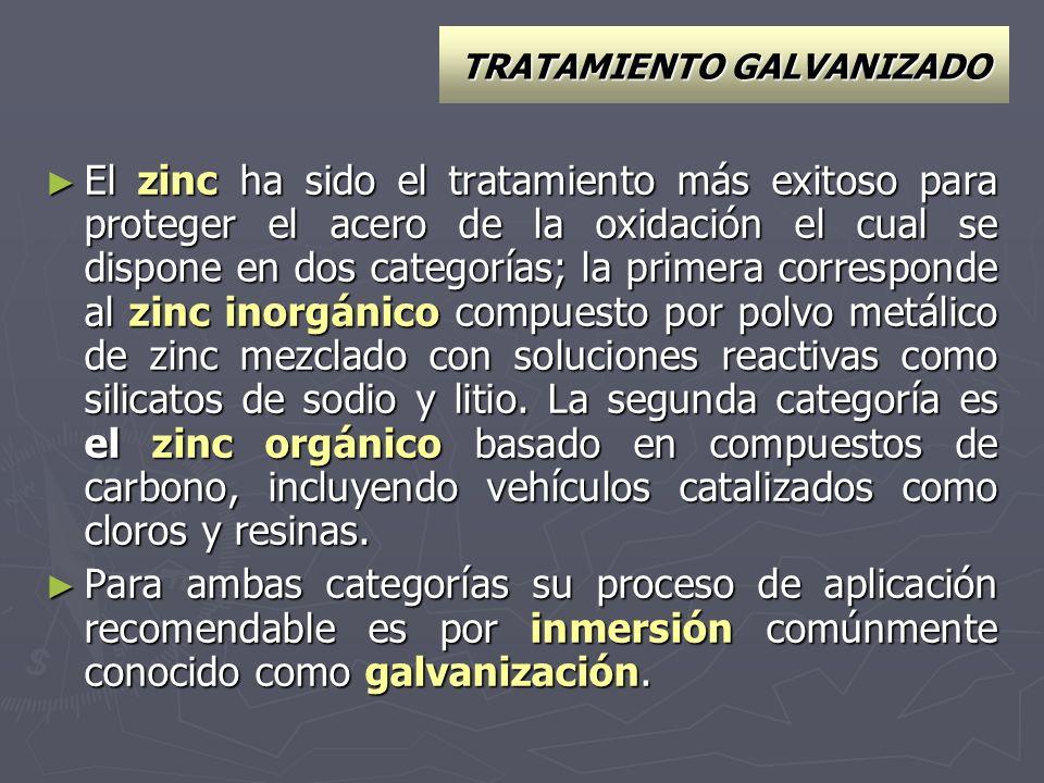 TRATAMIENTO GALVANIZADO El zinc ha sido el tratamiento más exitoso para proteger el acero de la oxidación el cual se dispone en dos categorías; la pri