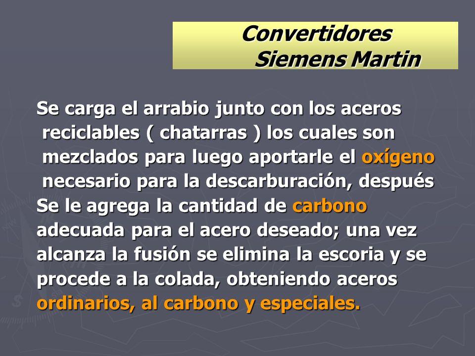 Convertidores Siemens Martin Se carga el arrabio junto con los aceros reciclables ( chatarras ) los cuales son reciclables ( chatarras ) los cuales so