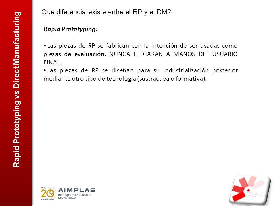 Rapid Prototyping vs Direct Manufacturing Que diferencia existe entre el RP y el DM? Rapid Prototyping: Las piezas de RP se fabrican con la intención