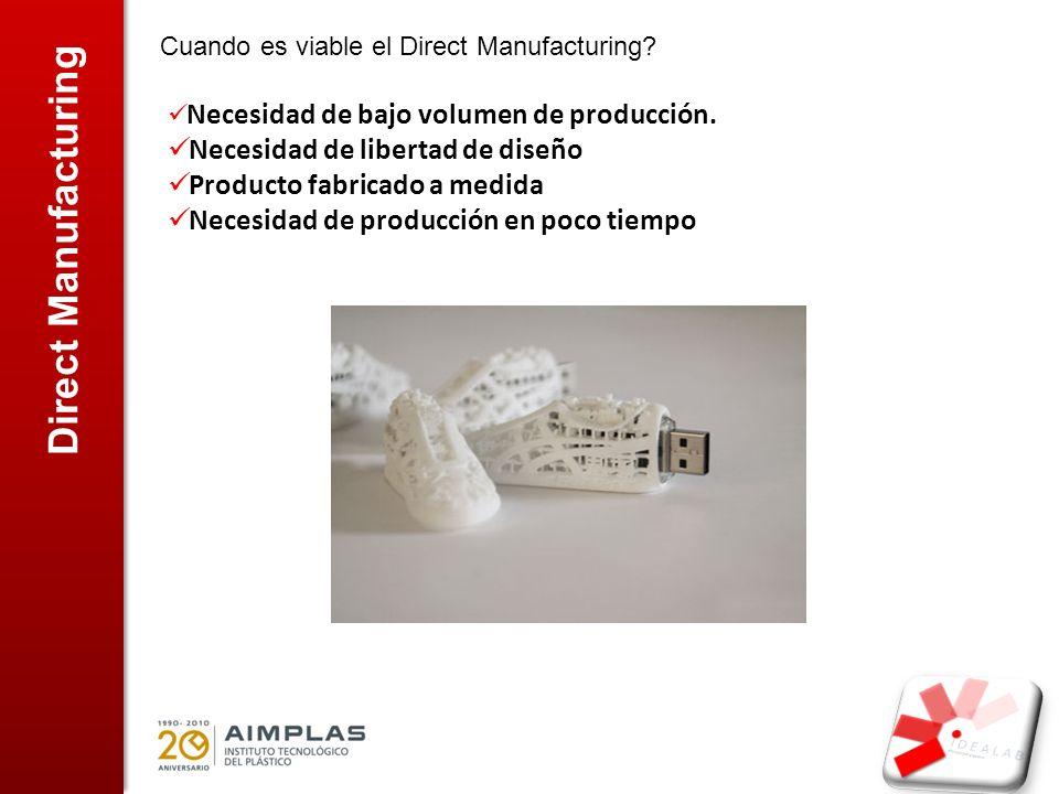 Direct Manufacturing Cuando es viable el Direct Manufacturing? Necesidad de bajo volumen de producción. Necesidad de libertad de diseño Producto fabri