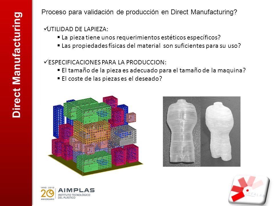 Direct Manufacturing Proceso para validación de producción en Direct Manufacturing? UTILIDAD DE LAPIEZA: La pieza tiene unos requerimientos estéticos
