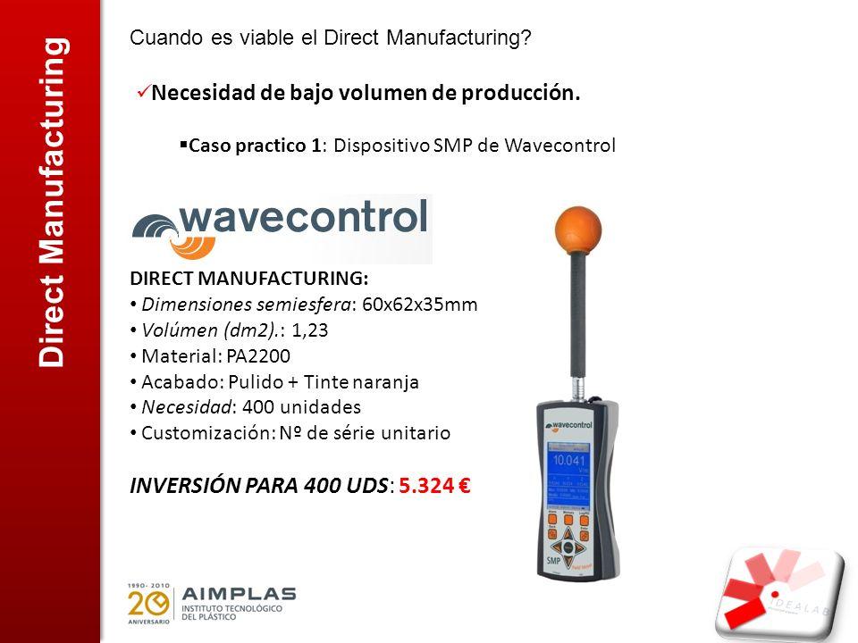 Direct Manufacturing Cuando es viable el Direct Manufacturing? Necesidad de bajo volumen de producción. Caso practico 1: Dispositivo SMP de Wavecontro