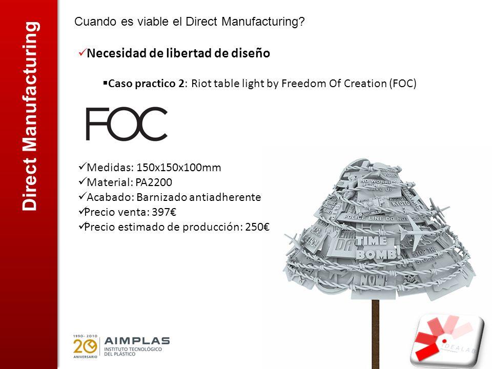 Direct Manufacturing Cuando es viable el Direct Manufacturing? Necesidad de libertad de diseño Caso practico 2: Riot table light by Freedom Of Creatio