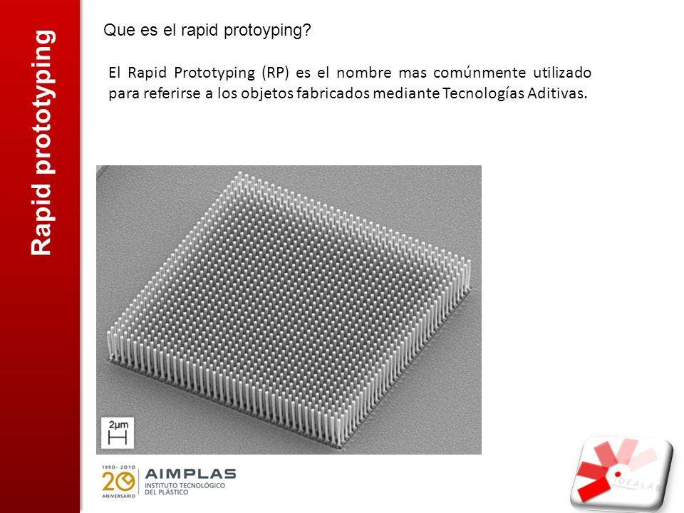 Rapid prototyping Que es el rapid protoyping? El Rapid Prototyping (RP) es el nombre mas comúnmente utilizado para referirse a los objetos fabricados