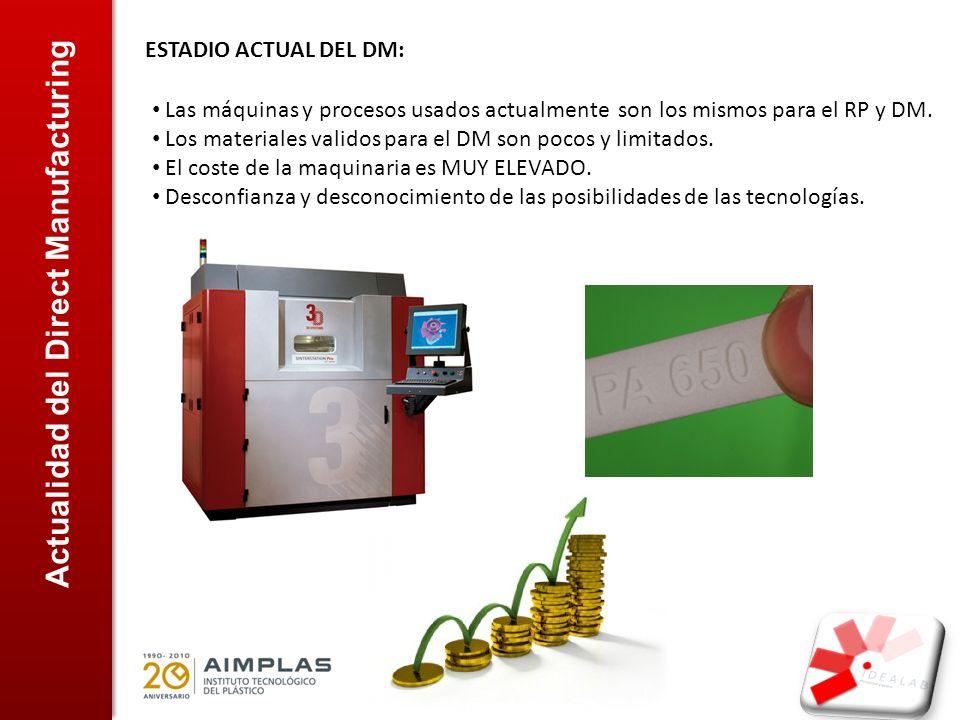 Actualidad del Direct Manufacturing ESTADIO ACTUAL DEL DM: Las máquinas y procesos usados actualmente son los mismos para el RP y DM. Los materiales v