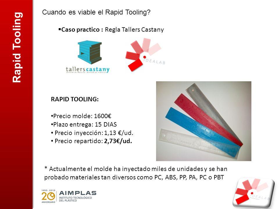 Rapid Tooling Cuando es viable el Rapid Tooling? Caso practico : Regla Tallers Castany RAPID TOOLING: Precio molde: 1600 Plazo entrega: 15 DIAS Precio