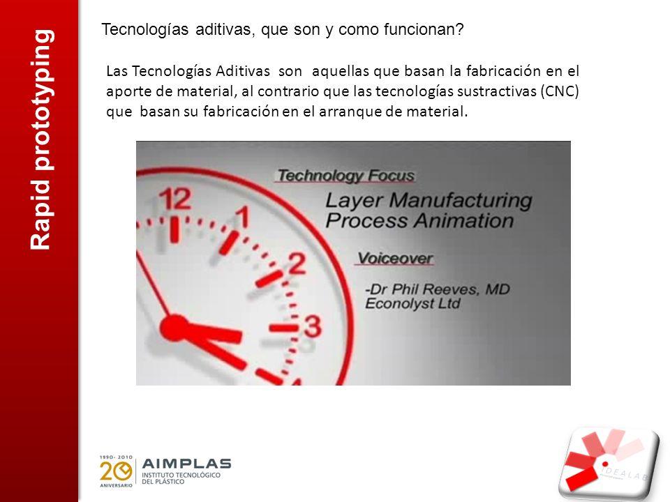 Rapid prototyping Tecnologías aditivas, que son y como funcionan? Las Tecnologías Aditivas son aquellas que basan la fabricación en el aporte de mater