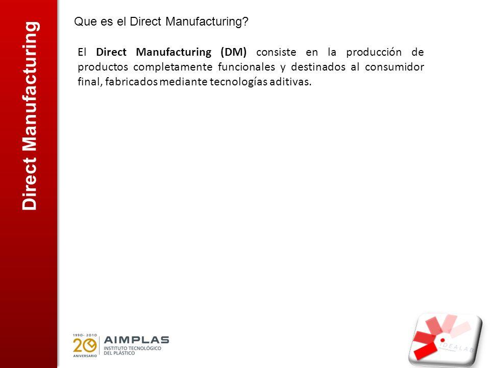 Actualidad del Direct Manufacturing ESTADIO ACTUAL DEL DM: Las máquinas y procesos usados actualmente son los mismos para el RP y DM.
