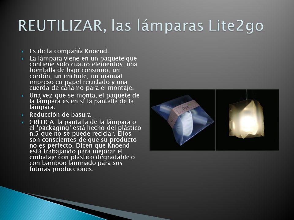 Es de la compañía Knoend. La lámpara viene en un paquete que contiene solo cuatro elementos: una bombilla de bajo consumo, un cordón, un enchufe, un m