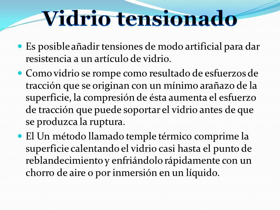 Es posible añadir tensiones de modo artificial para dar resistencia a un artículo de vidrio. Como vidrio se rompe como resultado de esfuerzos de tracc