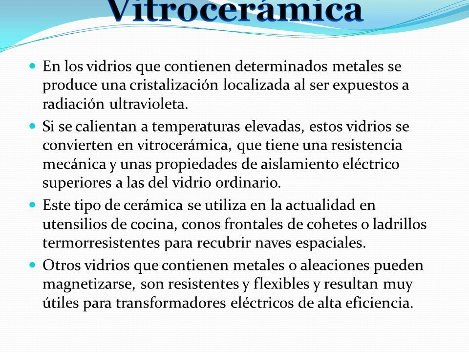 En los vidrios que contienen determinados metales se produce una cristalización localizada al ser expuestos a radiación ultravioleta. Si se calientan