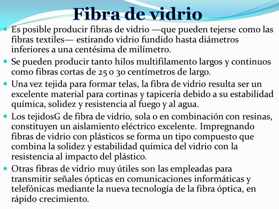 Es posible producir fibras de vidrio que pueden tejerse como las fibras textiles estirando vidrio fundido hasta diámetros inferiores a una centésima d