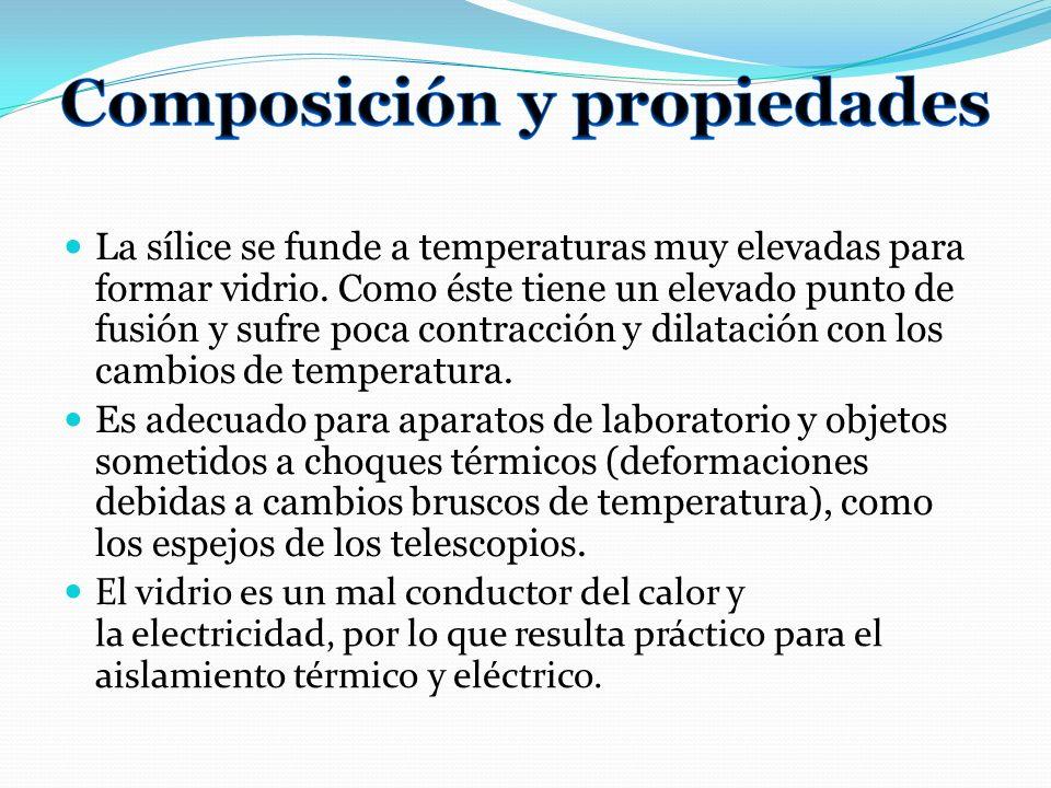 La sílice se funde a temperaturas muy elevadas para formar vidrio. Como éste tiene un elevado punto de fusión y sufre poca contracción y dilatación co