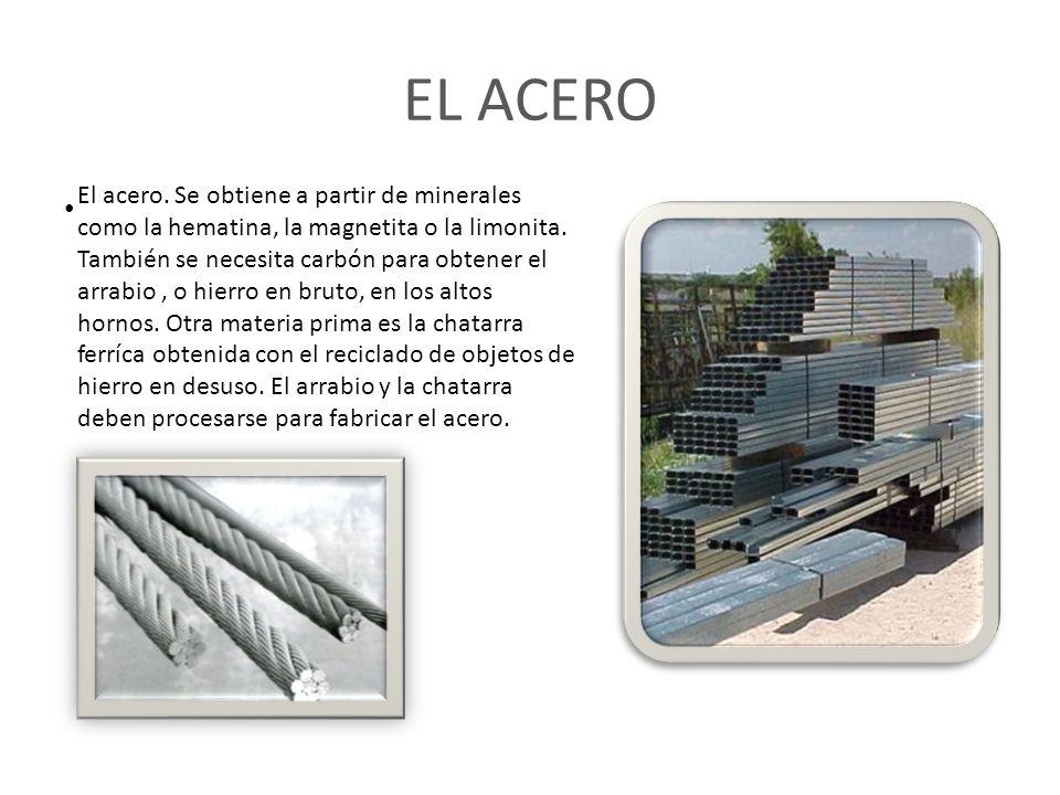 EL ACERO El acero.Se obtiene a partir de minerales como la hematina, la magnetita o la limonita.