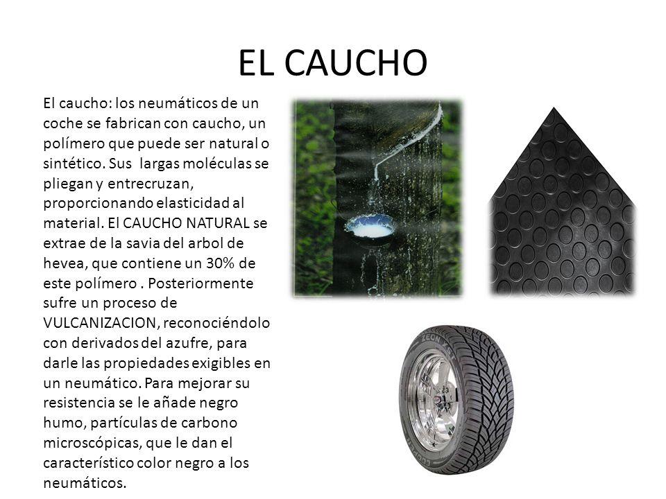 EL CAUCHO El caucho: los neumáticos de un coche se fabrican con caucho, un polímero que puede ser natural o sintético.