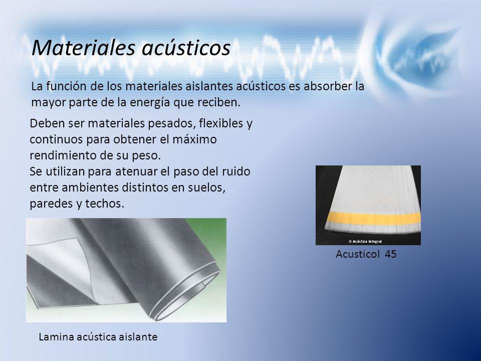 Materiales acústicos La función de los materiales aislantes acústicos es absorber la mayor parte de la energía que reciben. Deben ser materiales pesad