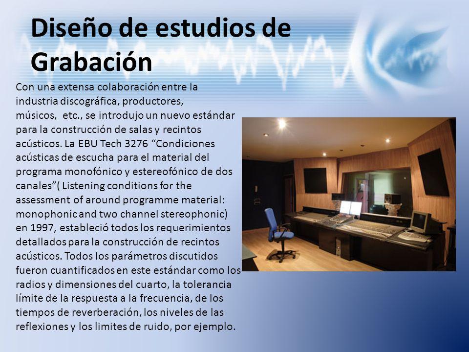 Diseño de estudios de Grabación Con una extensa colaboración entre la industria discográfica, productores, músicos, etc., se introdujo un nuevo estánd