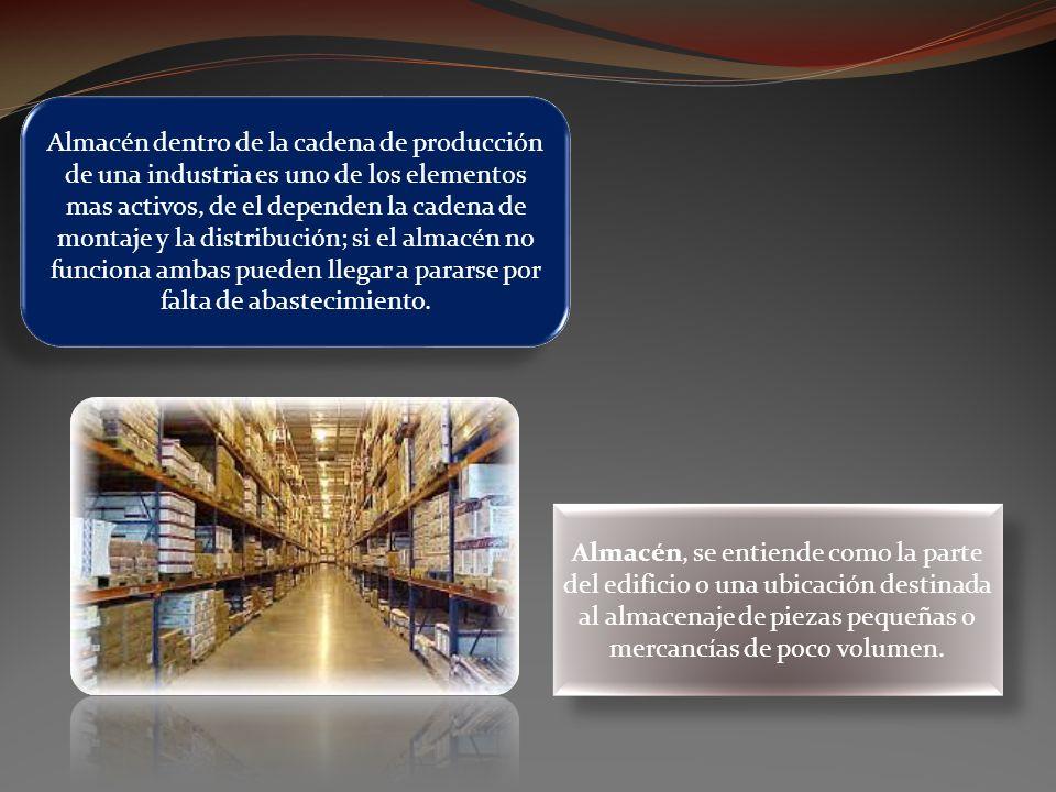 Almacén dentro de la cadena de producción de una industria es uno de los elementos mas activos, de el dependen la cadena de montaje y la distribución;