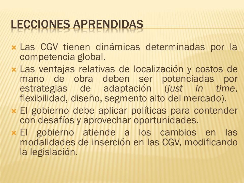 Las CGV tienen dinámicas determinadas por la competencia global. Las ventajas relativas de localización y costos de mano de obra deben ser potenciadas