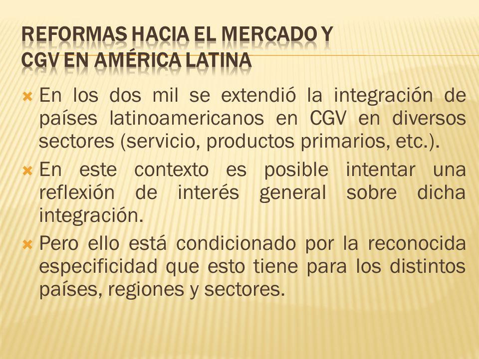 En los dos mil se extendió la integración de países latinoamericanos en CGV en diversos sectores (servicio, productos primarios, etc.). En este contex