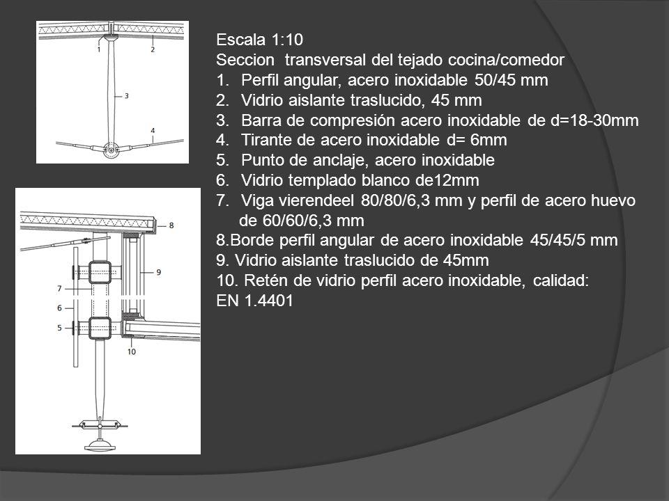 Escala 1:10 Seccion transversal del tejado cocina/comedor 1.Perfil angular, acero inoxidable 50/45 mm 2.Vidrio aislante traslucido, 45 mm 3.Barra de c