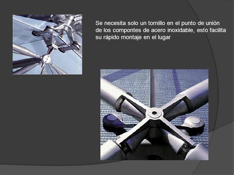 Se necesita solo un tornillo en el punto de unión de los compontes de acero inoxidable, esto facilita su rápido montaje en el lugar