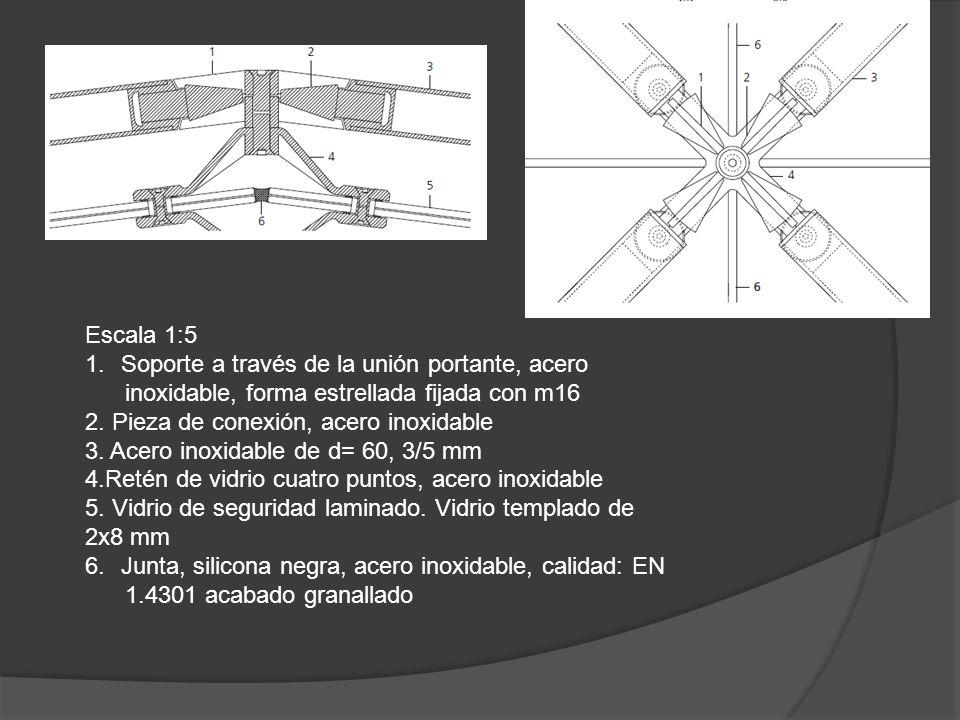1. Escala 1:5 1.Soporte a través de la unión portante, acero inoxidable, forma estrellada fijada con m16 2. Pieza de conexión, acero inoxidable 3. Ace