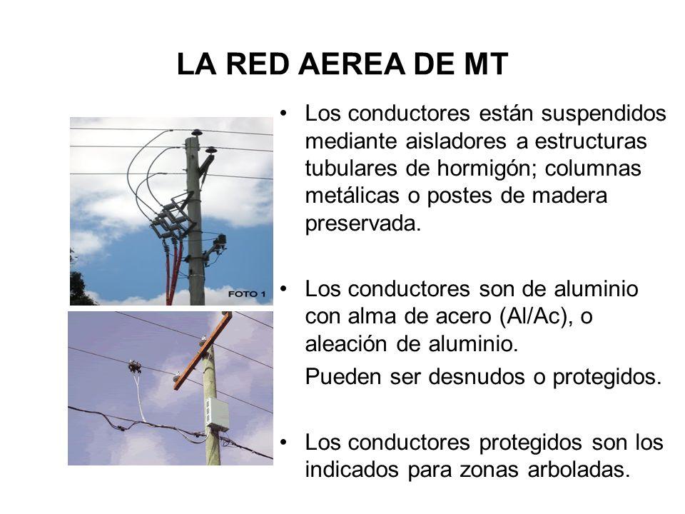 LA RED AEREA DE MT Los conductores están suspendidos mediante aisladores a estructuras tubulares de hormigón; columnas metálicas o postes de madera pr