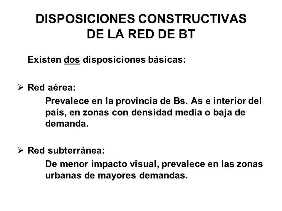 DISPOSICIONES CONSTRUCTIVAS DE LA RED DE BT Existen dos disposiciones básicas: Red aérea: Prevalece en la provincia de Bs. As e interior del país, en
