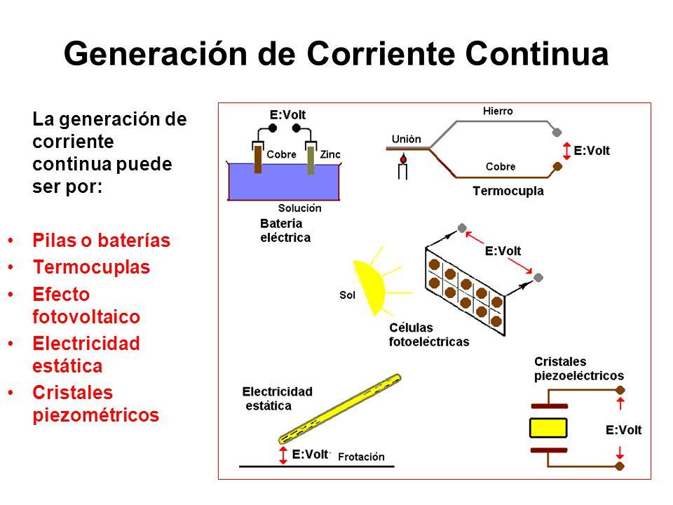 Generación de Corriente Continua La generación de corriente continua puede ser por: Pilas o baterías Termocuplas Efecto fotovoltaico Electricidad está