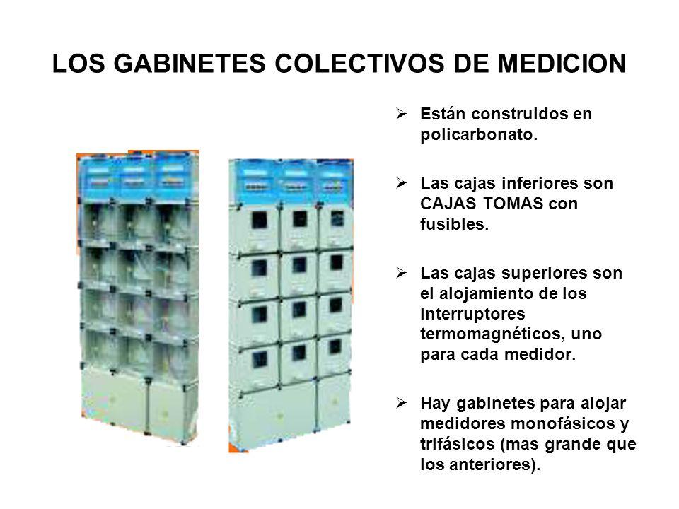 LOS GABINETES COLECTIVOS DE MEDICION Están construidos en policarbonato. Las cajas inferiores son CAJAS TOMAS con fusibles. Las cajas superiores son e