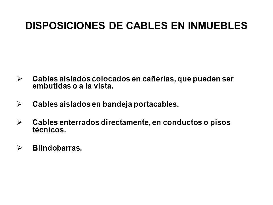 DISPOSICIONES DE CABLES EN INMUEBLES Cables aislados colocados en cañerías, que pueden ser embutidas o a la vista. Cables aislados en bandeja portacab