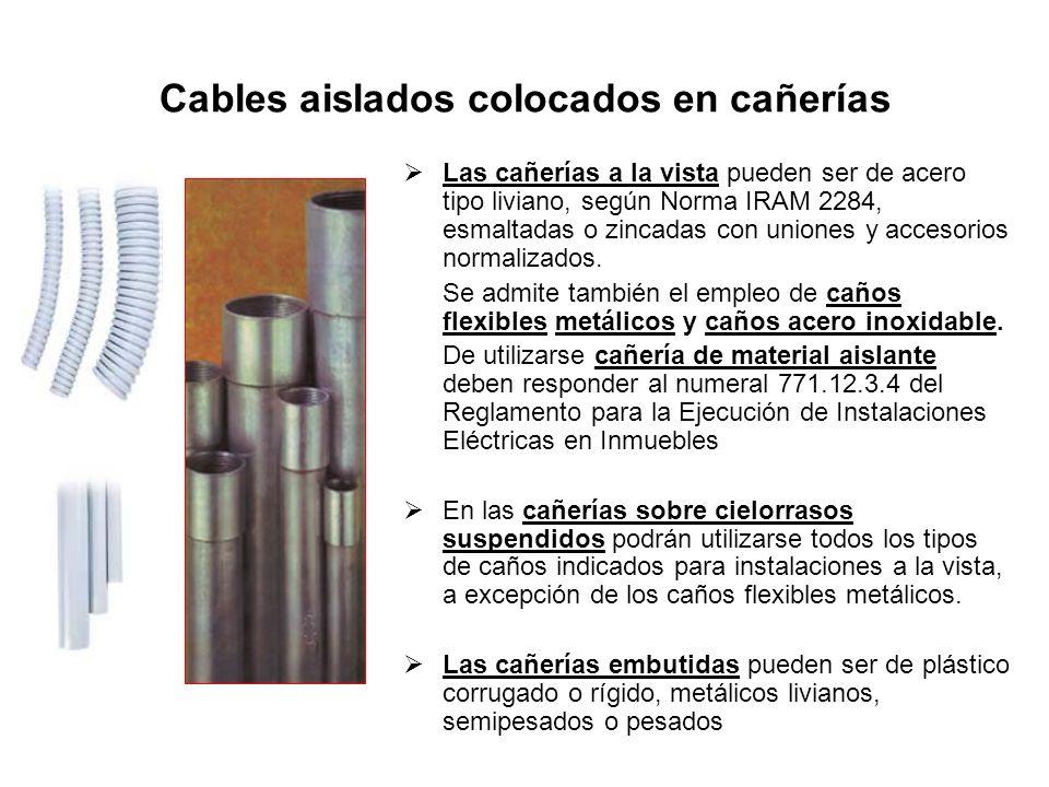 Cables aislados colocados en cañerías Las cañerías a la vista pueden ser de acero tipo liviano, según Norma IRAM 2284, esmaltadas o zincadas con union