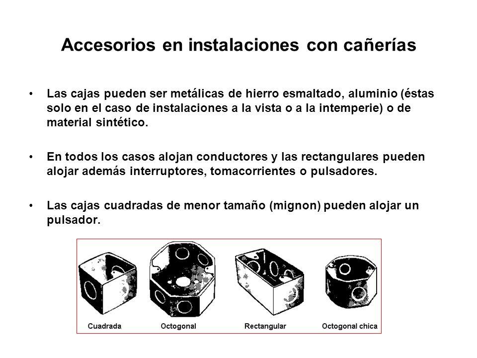 Accesorios en instalaciones con cañerías Las cajas pueden ser metálicas de hierro esmaltado, aluminio (éstas solo en el caso de instalaciones a la vis