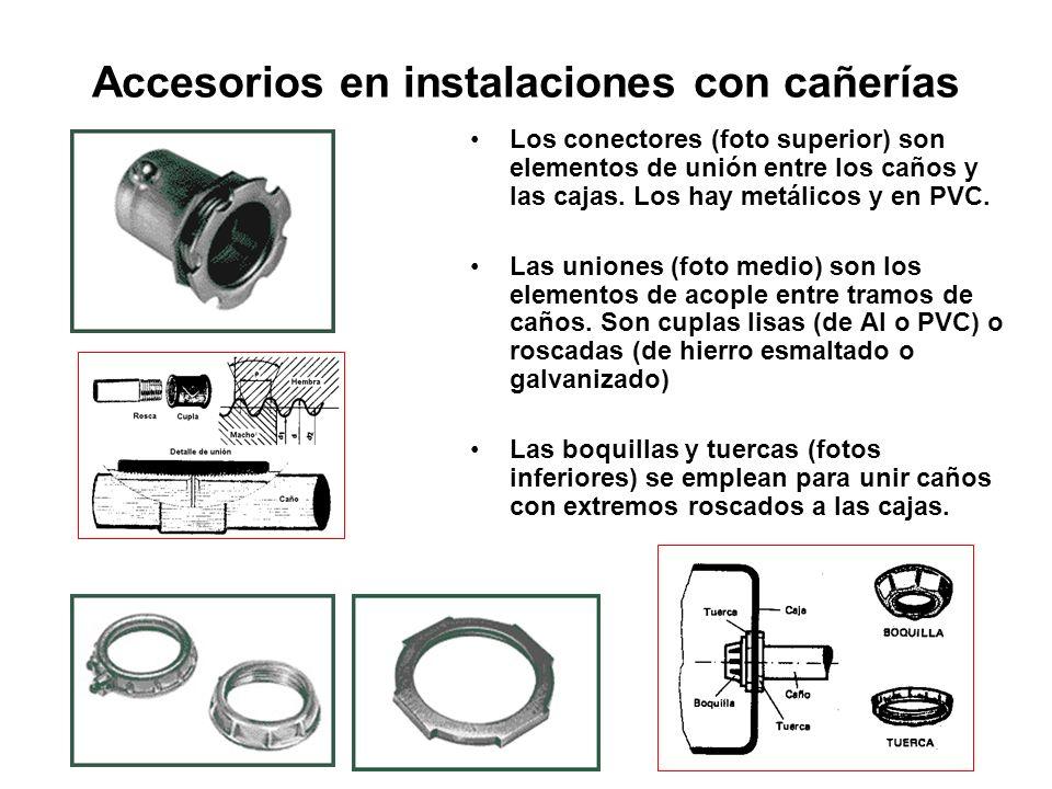 Accesorios en instalaciones con cañerías Los conectores (foto superior) son elementos de unión entre los caños y las cajas. Los hay metálicos y en PVC