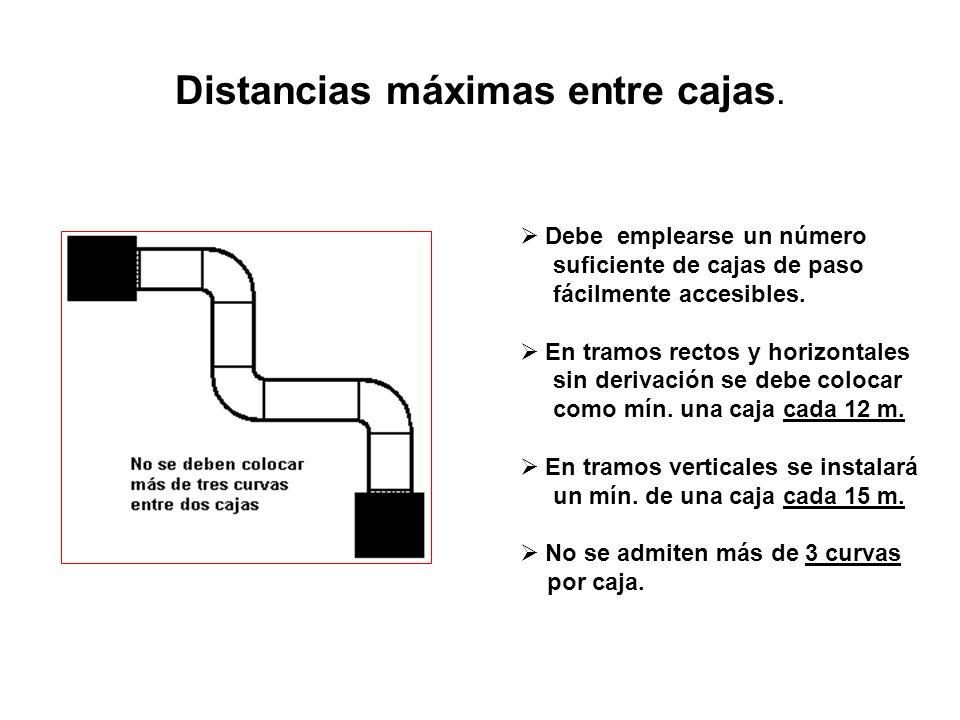 Distancias máximas entre cajas. Debe emplearse un número suficiente de cajas de paso fácilmente accesibles. En tramos rectos y horizontales sin deriva