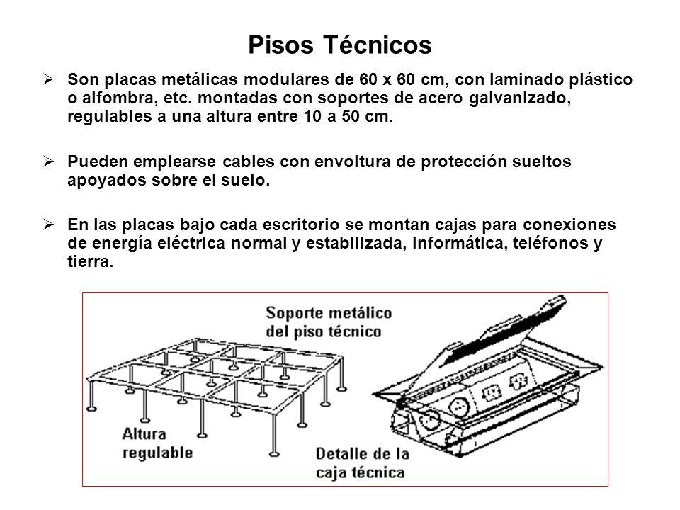 Pisos Técnicos Son placas metálicas modulares de 60 x 60 cm, con laminado plástico o alfombra, etc. montadas con soportes de acero galvanizado, regula