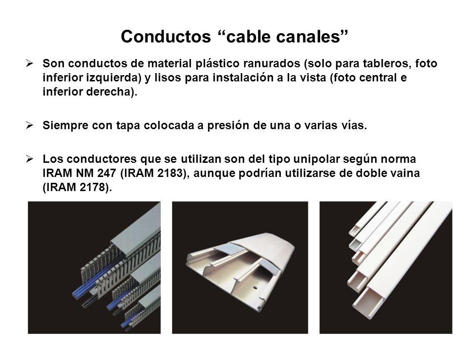 Conductos cable canales Son conductos de material plástico ranurados (solo para tableros, foto inferior izquierda) y lisos para instalación a la vista