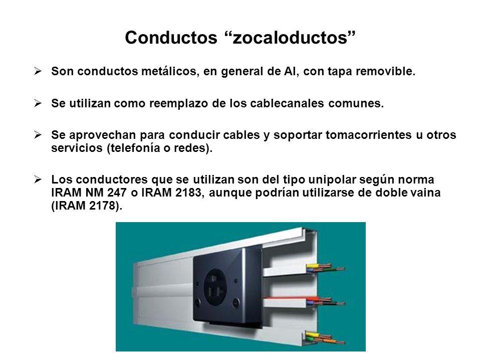 Conductos zocaloductos Son conductos metálicos, en general de Al, con tapa removible. Se utilizan como reemplazo de los cablecanales comunes. Se aprov