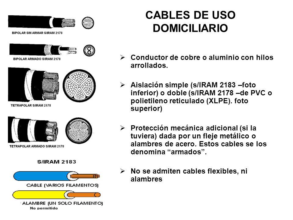 CABLES DE USO DOMICILIARIO Conductor de cobre o aluminio con hilos arrollados. Aislación simple (s/IRAM 2183 –foto inferior) o doble (s/IRAM 2178 –de