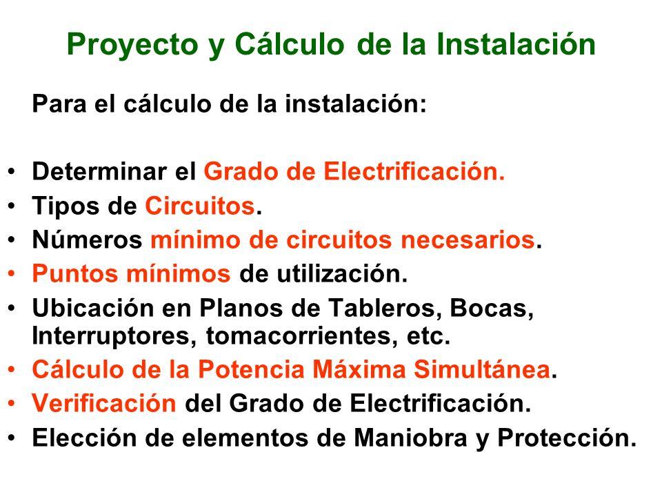 Proyecto y Cálculo de la Instalación Para el cálculo de la instalación: Determinar el Grado de Electrificación. Tipos de Circuitos. Números mínimo de