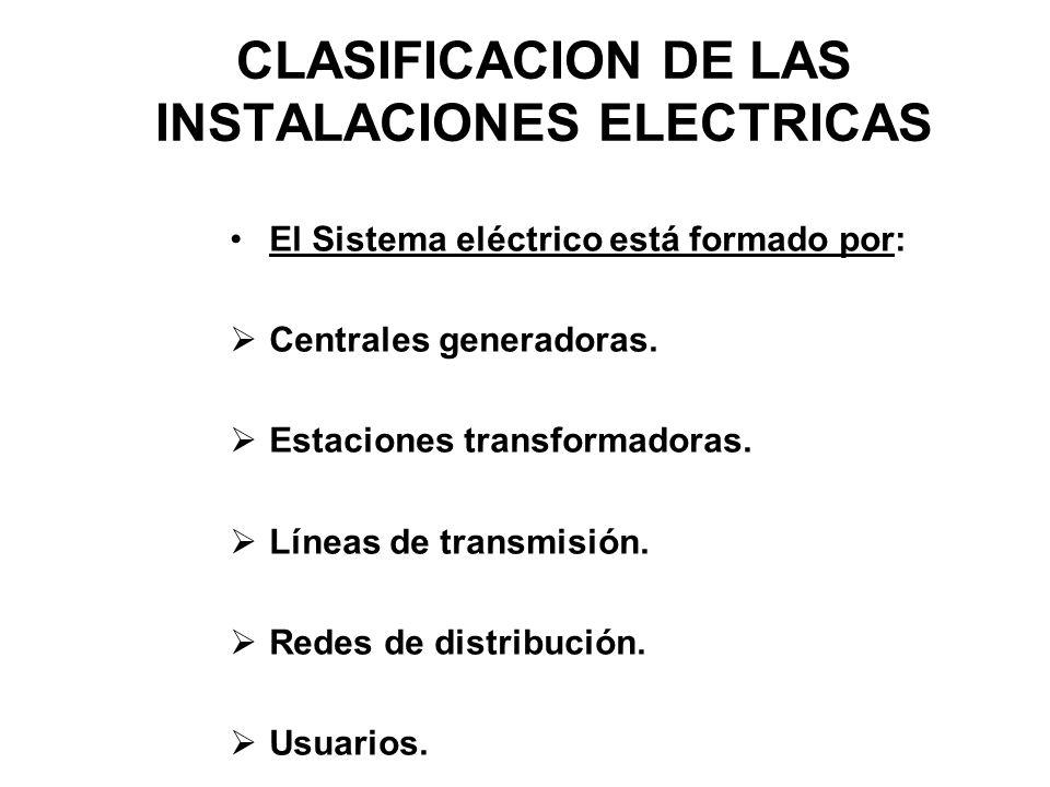 CLASIFICACION DE LAS INSTALACIONES ELECTRICAS El Sistema eléctrico está formado por: Centrales generadoras. Estaciones transformadoras. Líneas de tran