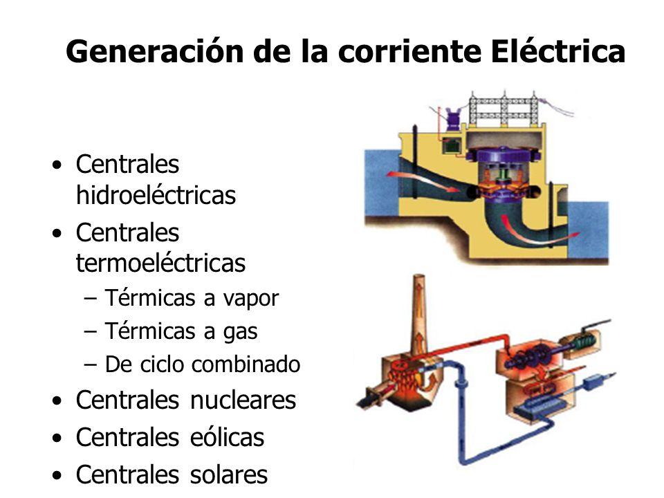 Generación de la corriente Eléctrica Centrales hidroeléctricas Centrales termoeléctricas –Térmicas a vapor –Térmicas a gas –De ciclo combinado Central