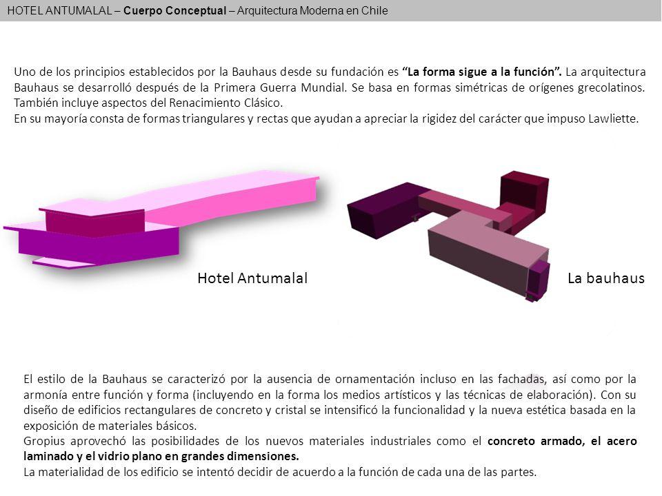 HOTEL ANTUMALAL – Cuerpo Conceptual – Arquitectura Moderna en Chile Uno de los principios establecidos por la Bauhaus desde su fundación es La forma s