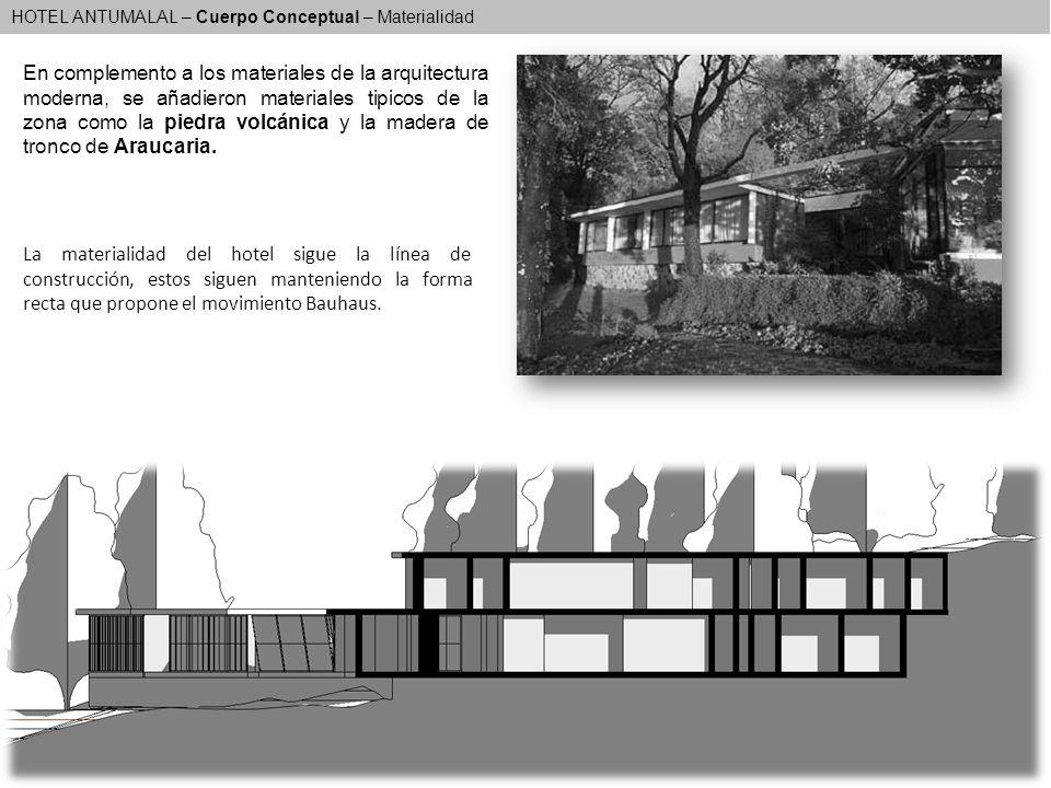 HOTEL ANTUMALAL – Cuerpo Conceptual – Materialidad En complemento a los materiales de la arquitectura moderna, se añadieron materiales tipicos de la z