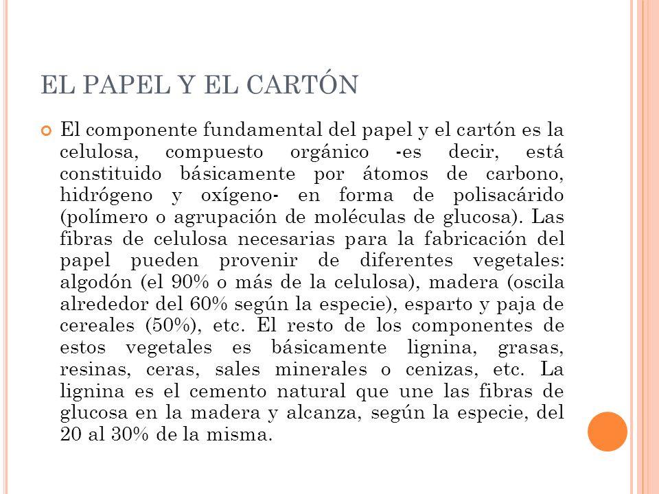 El componente fundamental del papel y el cartón es la celulosa, compuesto orgánico -es decir, está constituido básicamente por átomos de carbono, hidr