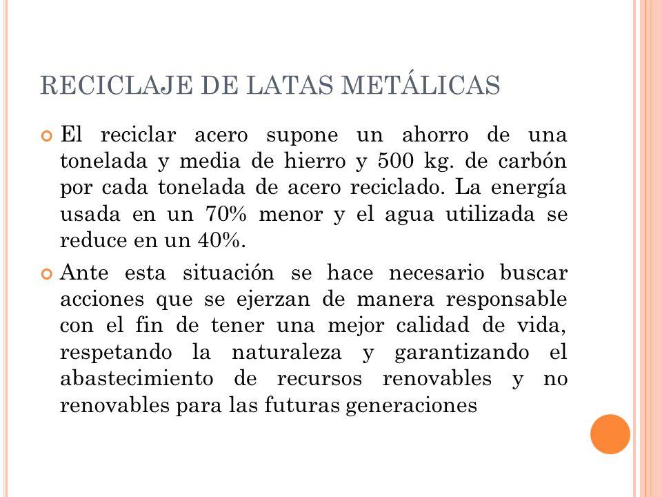RECICLAJE DE LATAS METÁLICAS El reciclar acero supone un ahorro de una tonelada y media de hierro y 500 kg. de carbón por cada tonelada de acero recic